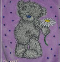 Teddy Bear with chamomile design on dog's jacket2