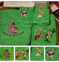 Alice in wonderland designs on towels1
