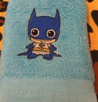 Embroidered towel Chibi Batman design