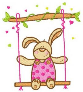 Bunny swinging on teeter