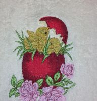 Easter eggs embroidered towel