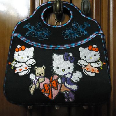 Hello Kitty design on bag embroidered