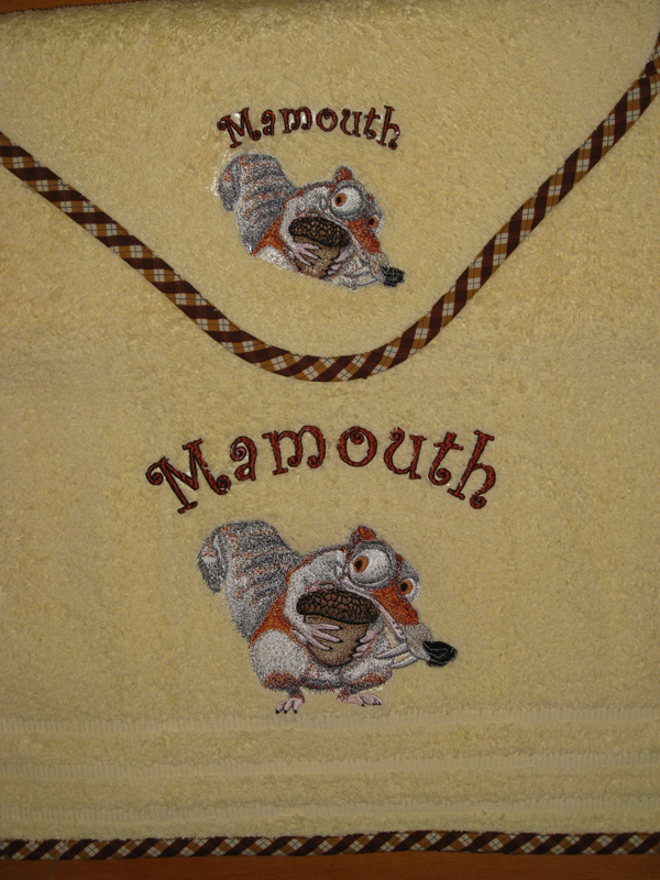 Scrat with acorn embroidered on towel