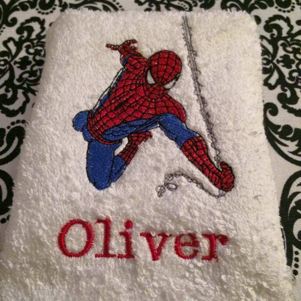 Embroidered Spiderman rushes to rescue design on towel