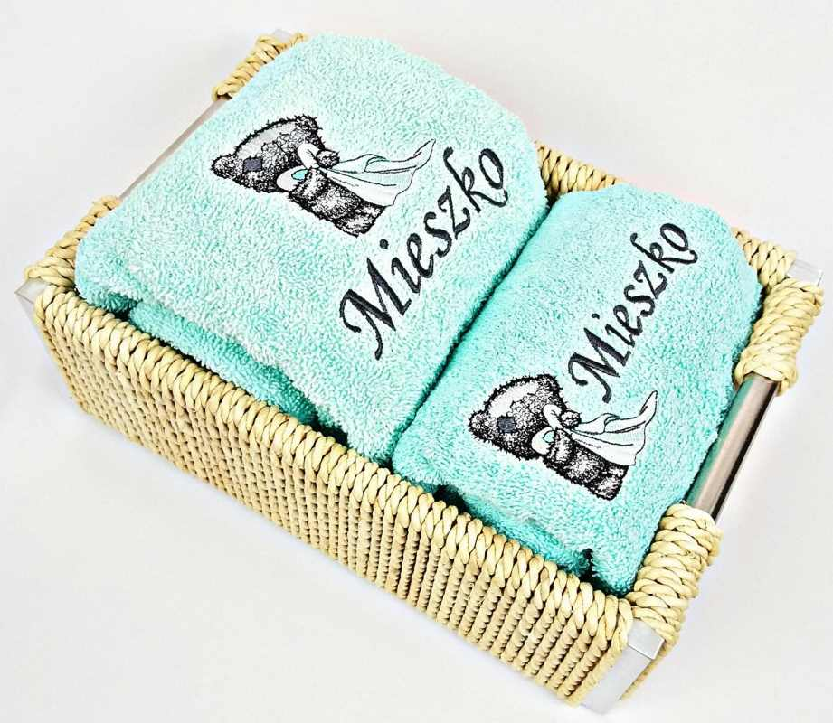 Blue towel with Teddy Bear bathroom embroidery design