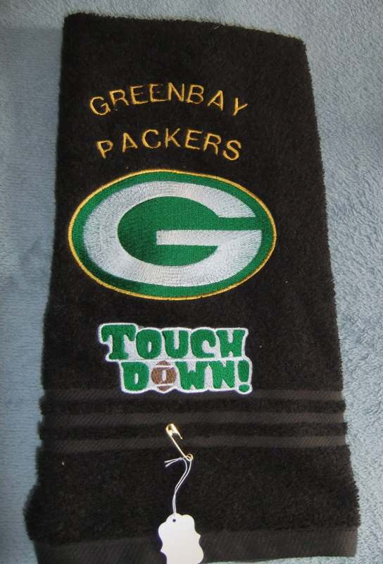 Towel with Greenbay Packers logo touch down logo embroidery design