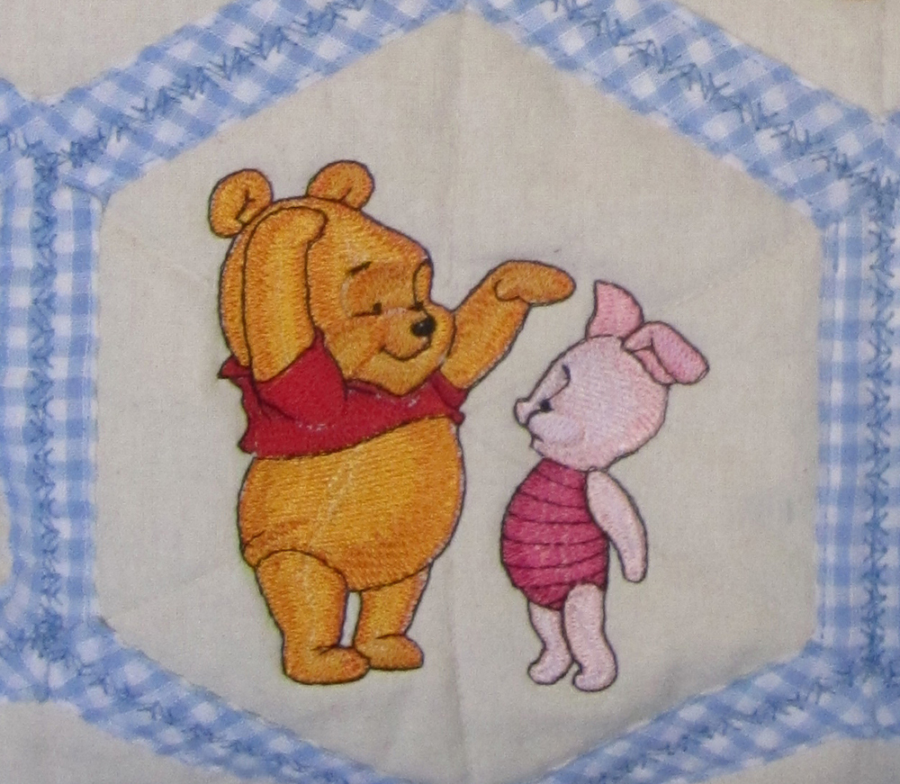 Baby Pooh and Piglet embroidered on bag