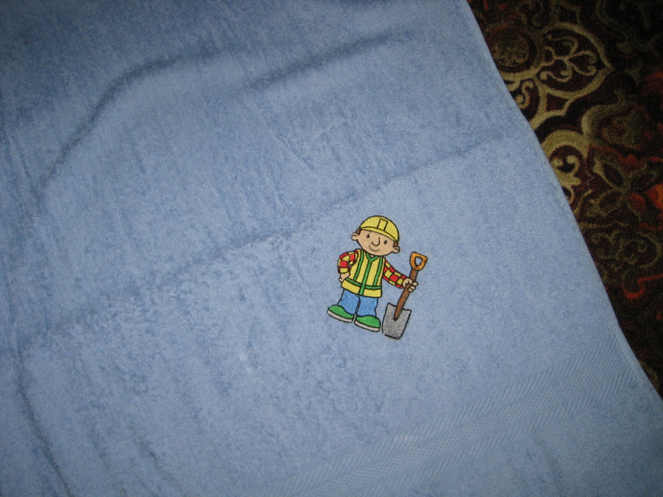 Bob the builder design on towel embroidered