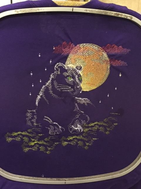 panther free embroidered design