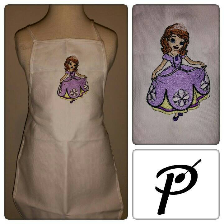 Sofia The First design on apron embroidered