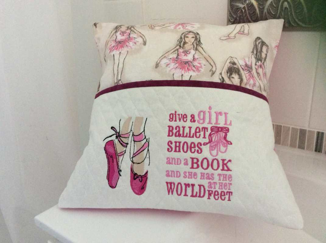 Pillow with ballet shoes pointe embroidery design