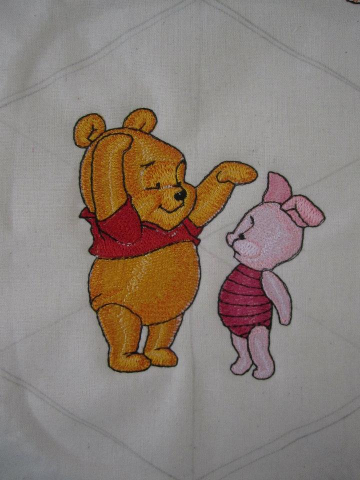 Baby Pooh and Piglet design embroidered