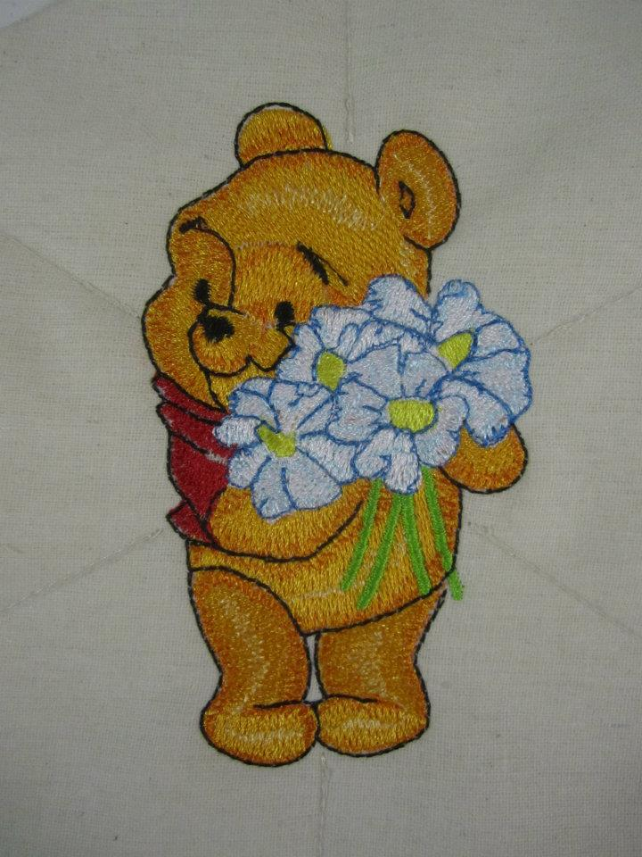 Baby Pooh with flowers design embroidered