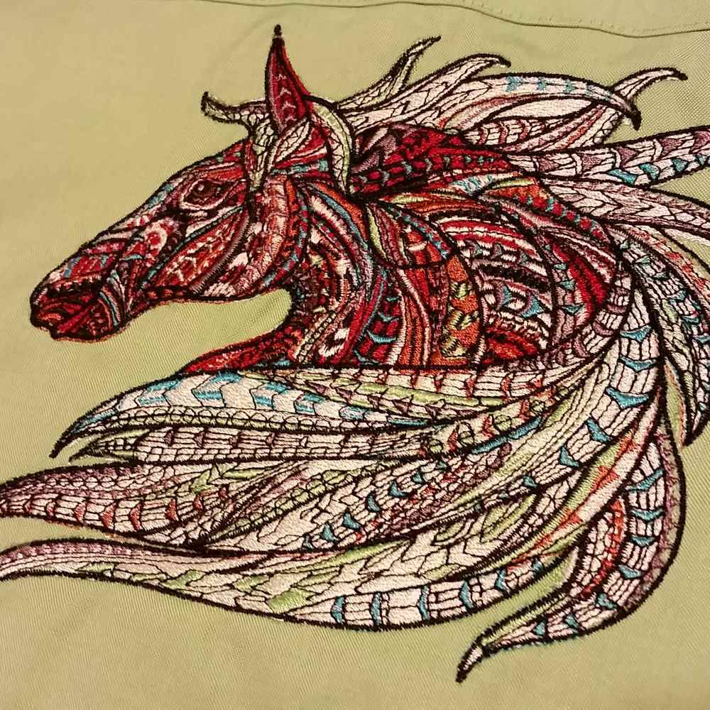 Mosaic horse embroidered design
