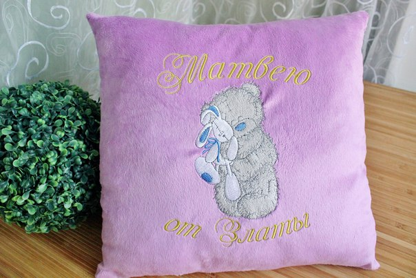 cute blue nose bear design on embroidered pillowcase