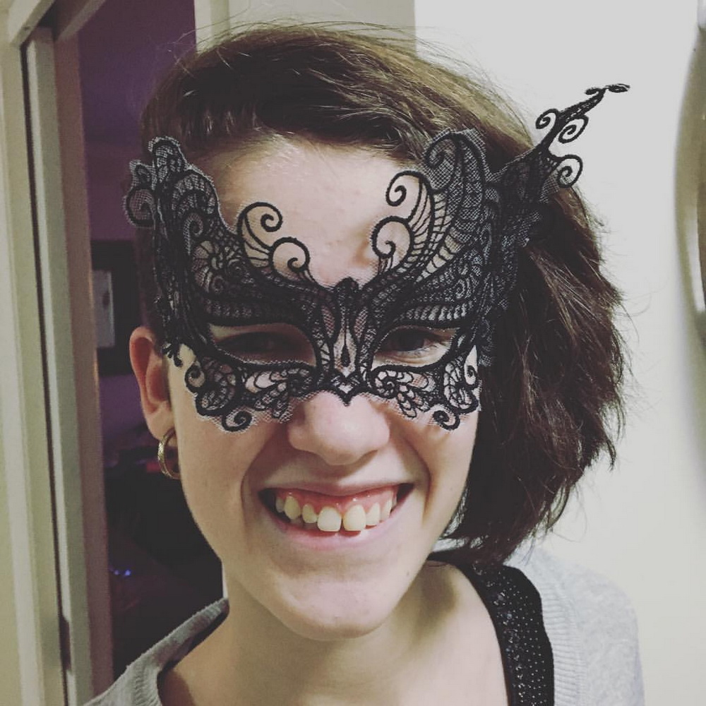 Embroidered black lace mask
