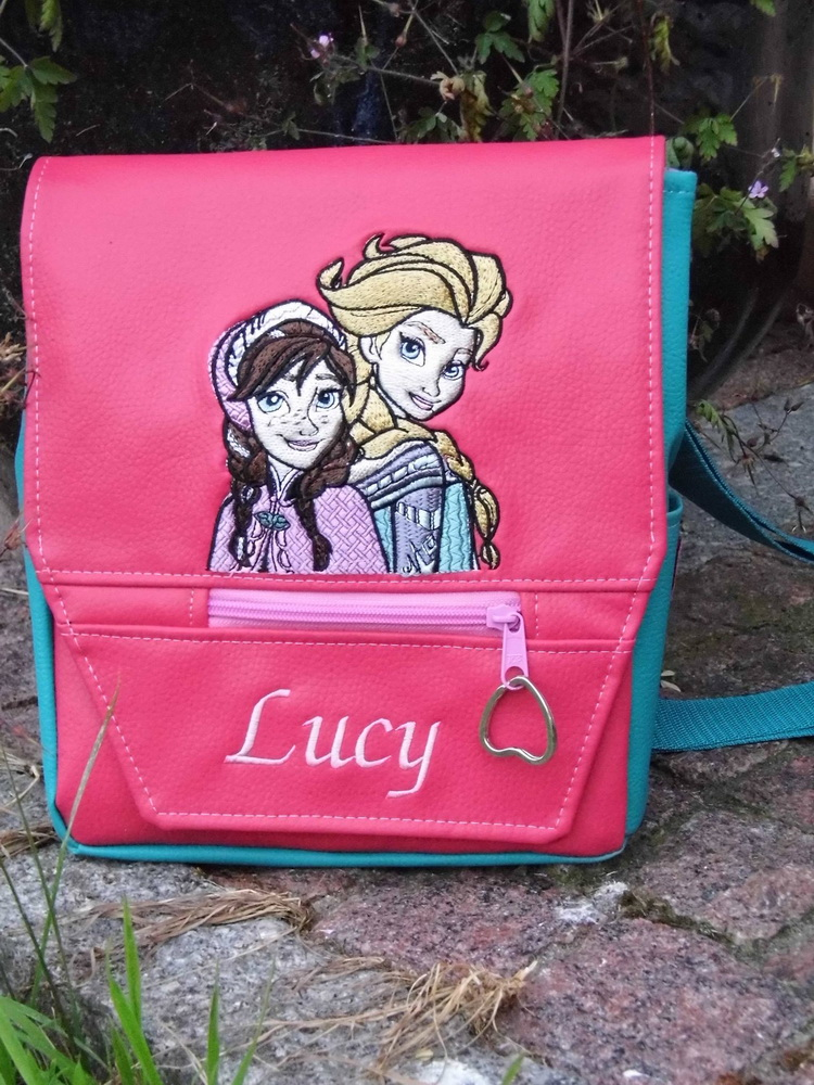 Pink bag with embroidered Frozen sisters