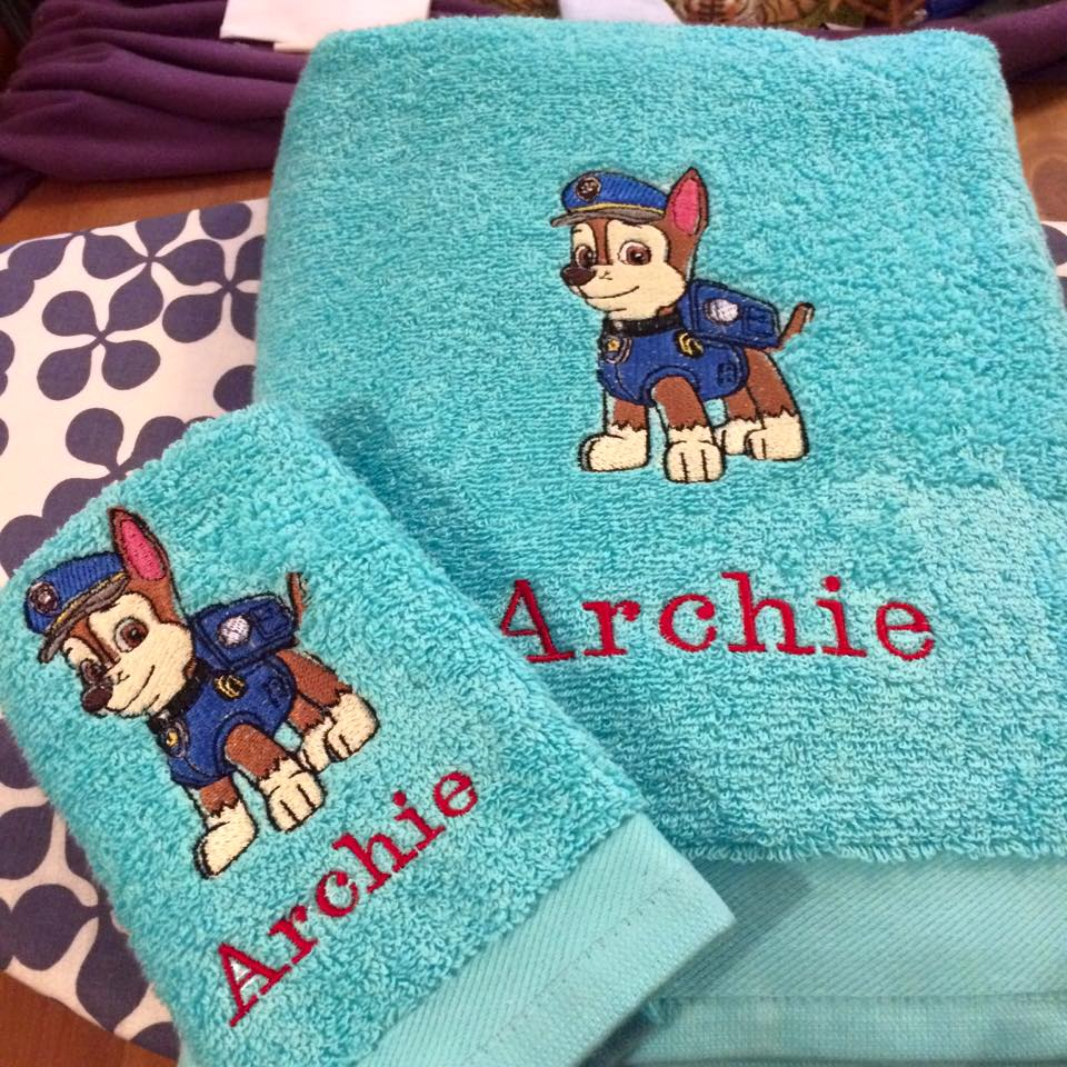 Towel with Chase embroidery design