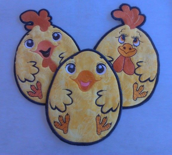 Rooster kitchen potholder design embroidered