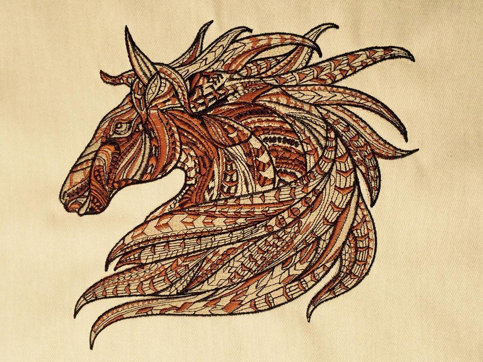 Colored mosaic horse embroidery design