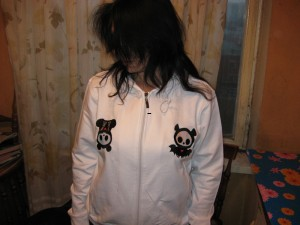 Bat and Panda embroidered on white jacket