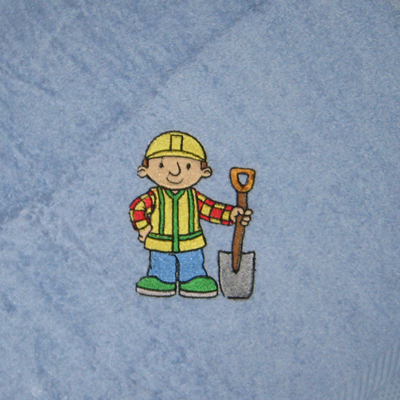 Embroidered blue towel with Bob the builder