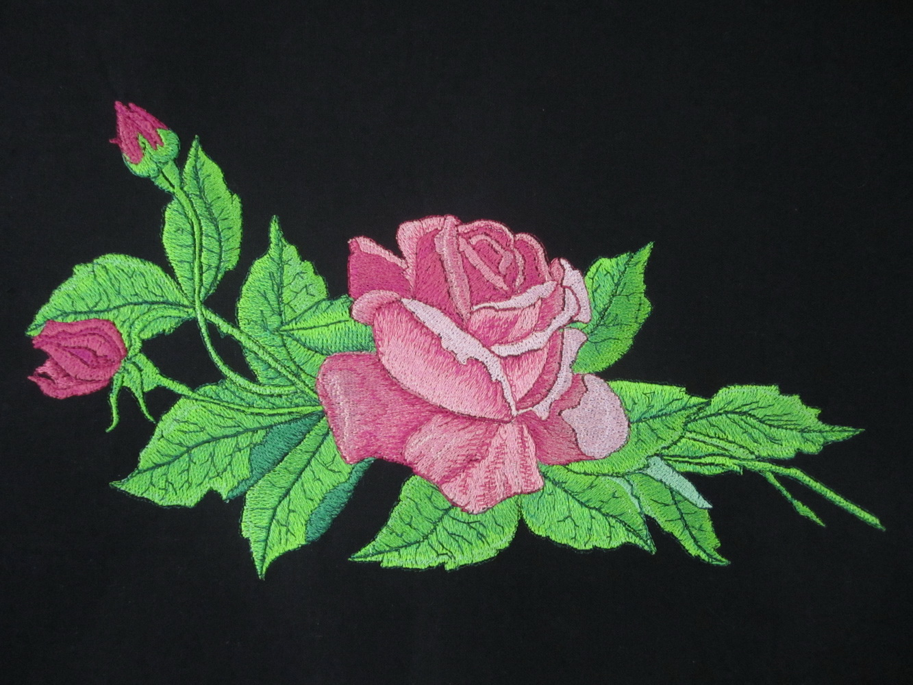Black bag with embroidered rose