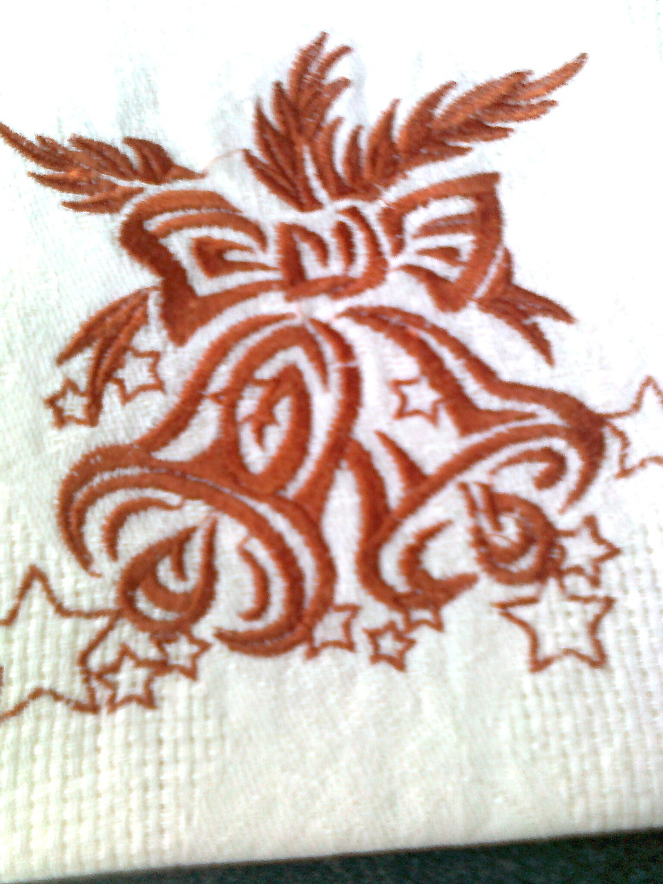 Christmas bells design embroidered