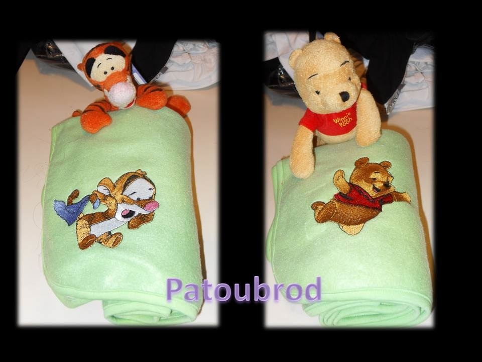 Fleece blankets embroidered with baby Pooh and Tigger designs