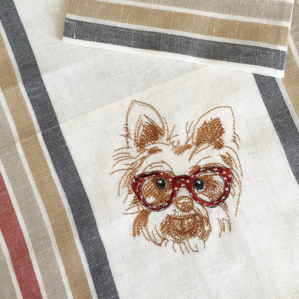 Embroidered White terrier design on kitchen towel