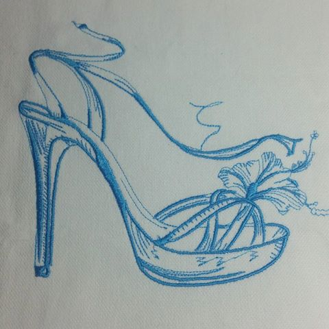Embroidered high heel shoe