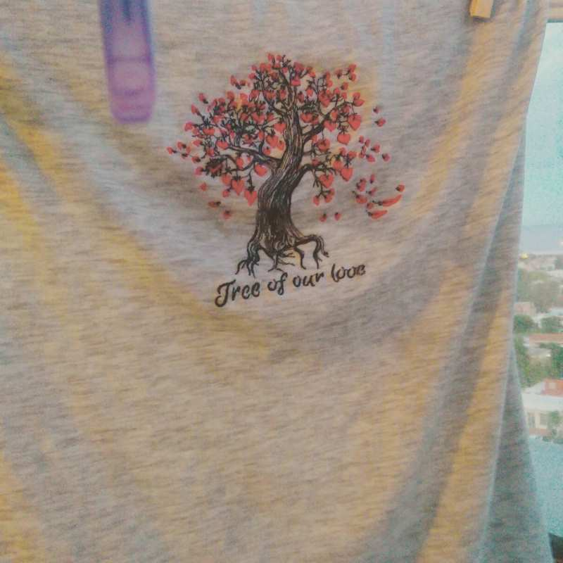 T-shirt with Tree of our love embroidery design