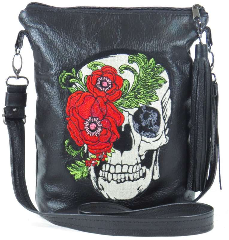 Black Leather bag with skull and Roses embroidery
