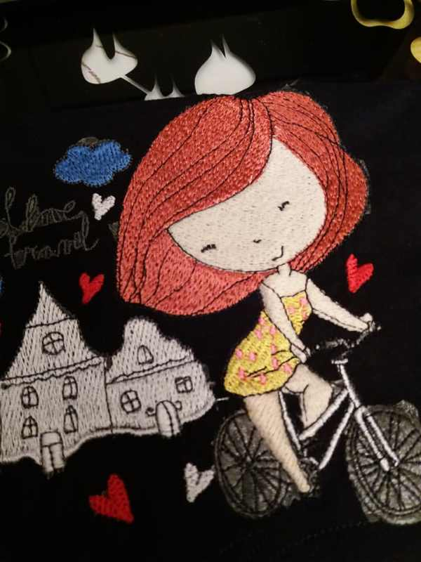 Young lady love riding bicycle embroidery design