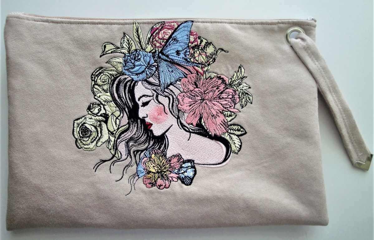 Cosmetic bag with fashionable girl design
