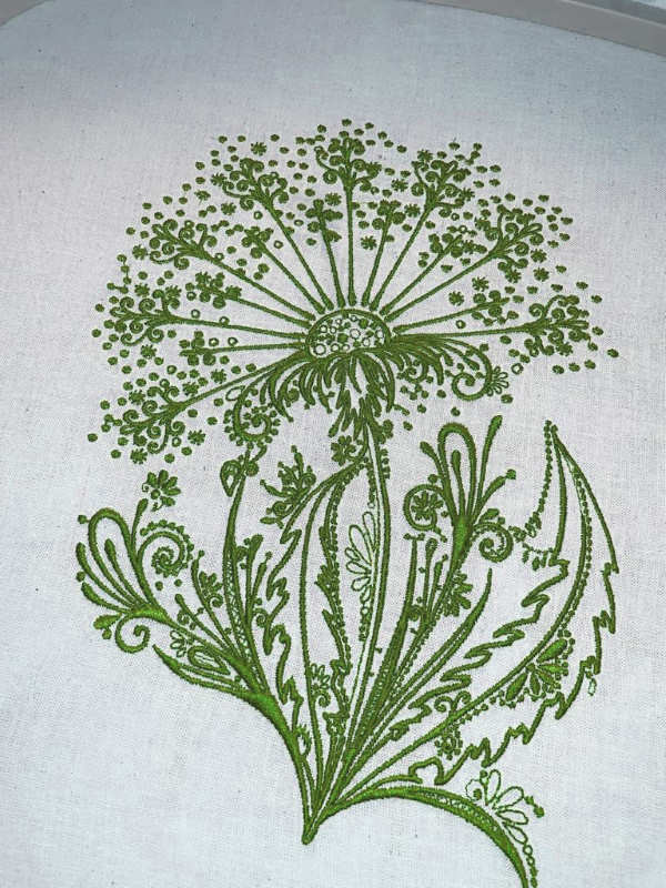 Dandelion green embroidered design