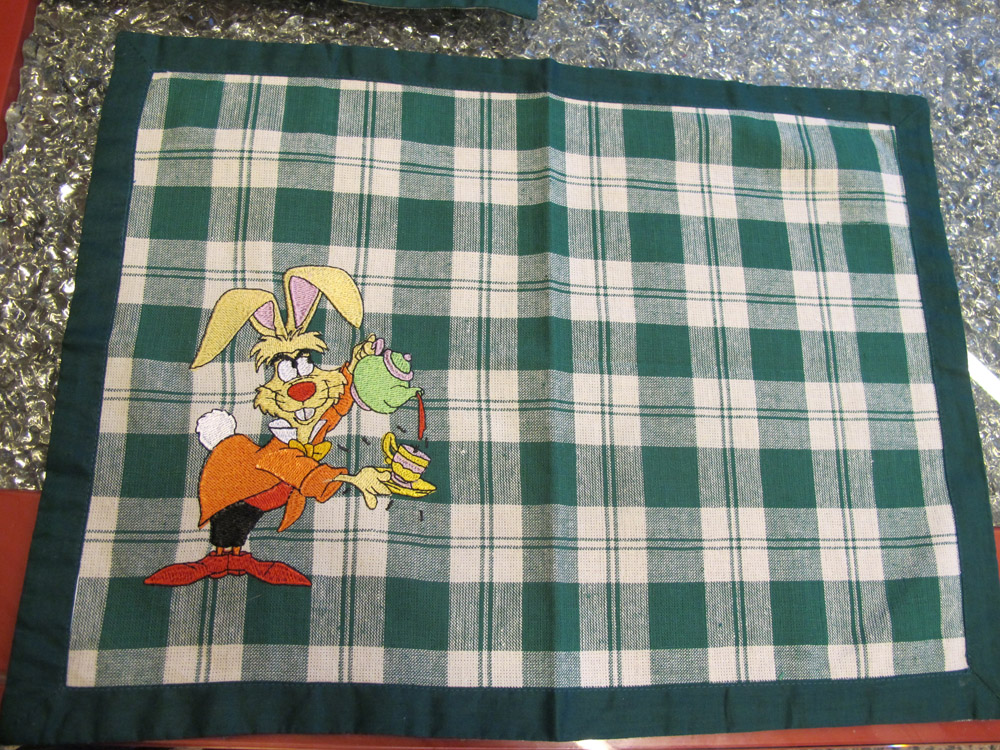 March hare embroidered on kitchen pillow