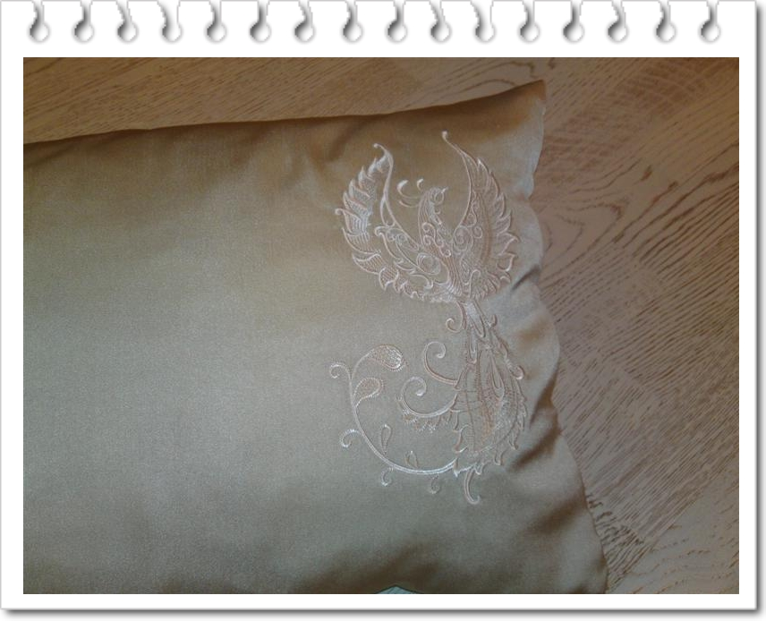 Pillow with Fantastic Bird machine embroidery design