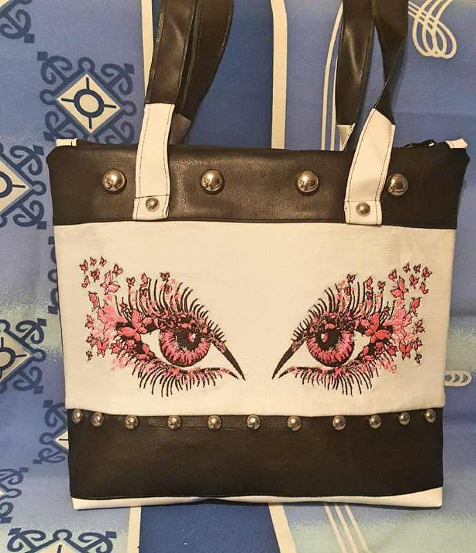 Embroidered bag with fashion eyes design