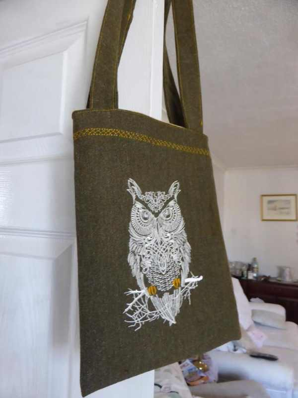 Beach bag with tribal owl embroidery design