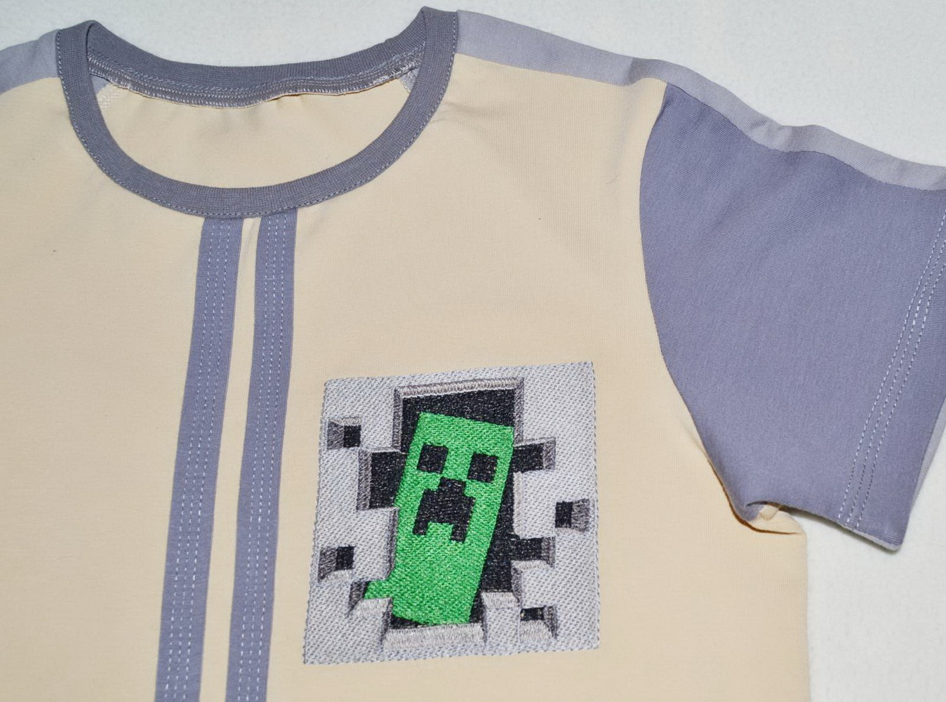 Minecraft Creeper in your door on embroidered white t-shirt