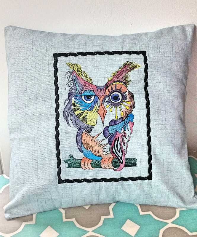 Pillow with Owl color embroidery design