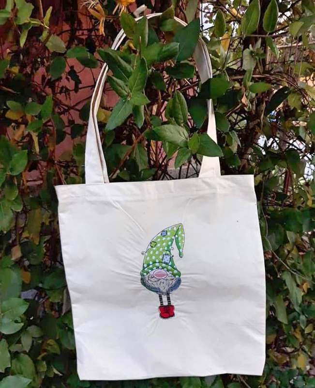 Shopping bag with cute Christmas dwarf embroidery design