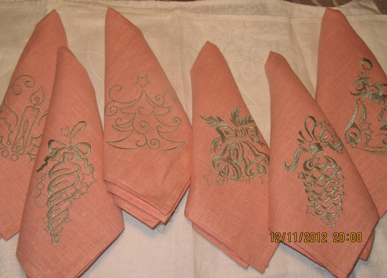 Embroidered Christmas kitchen napkins
