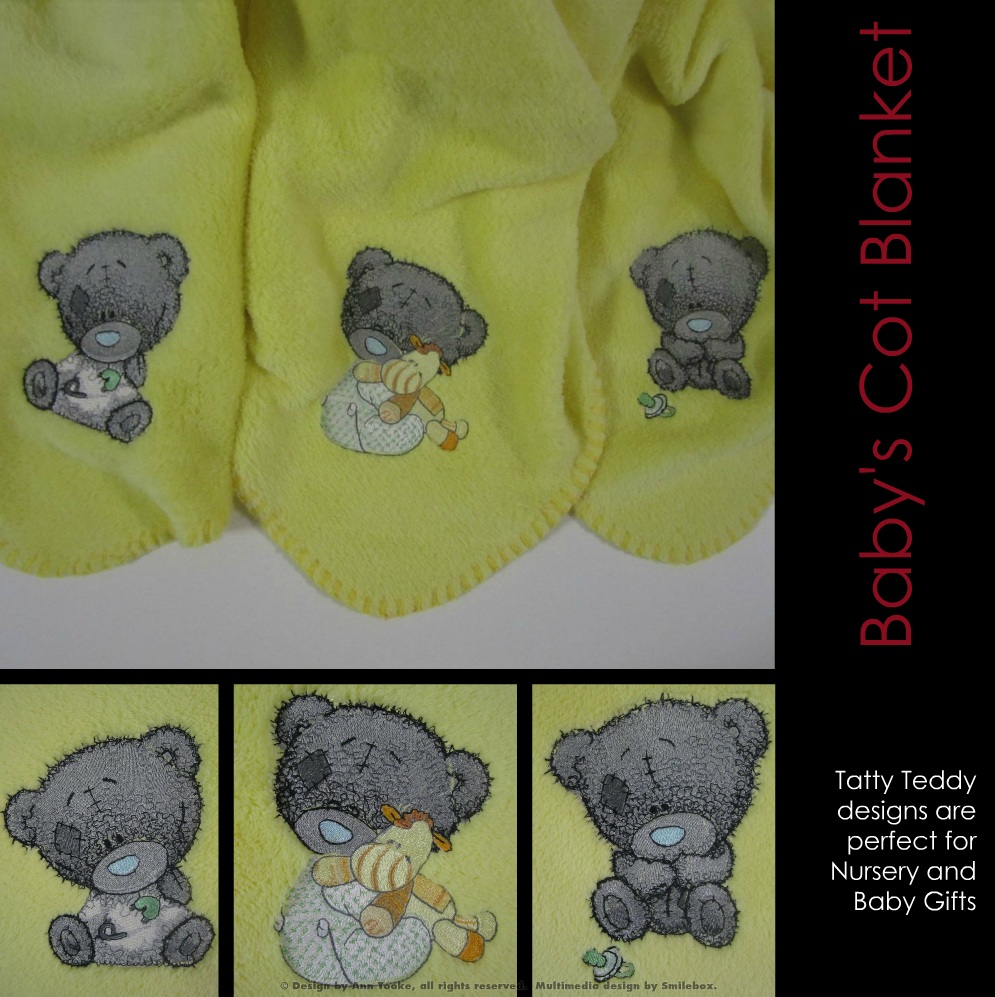 Teddy bear embroidery designs on blanket
