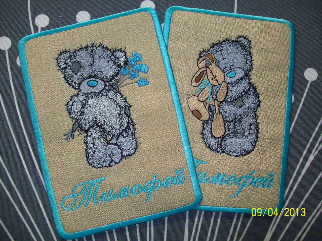 Blue nose bears embroidered on covers