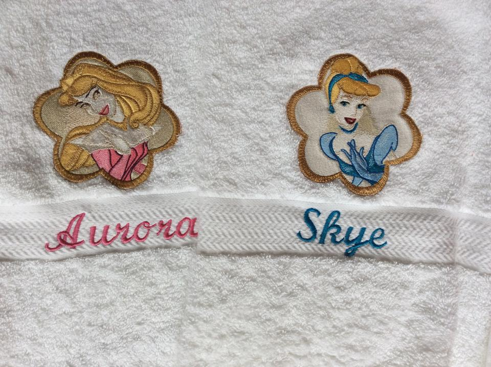 Disney princesses designs on towel embroidered