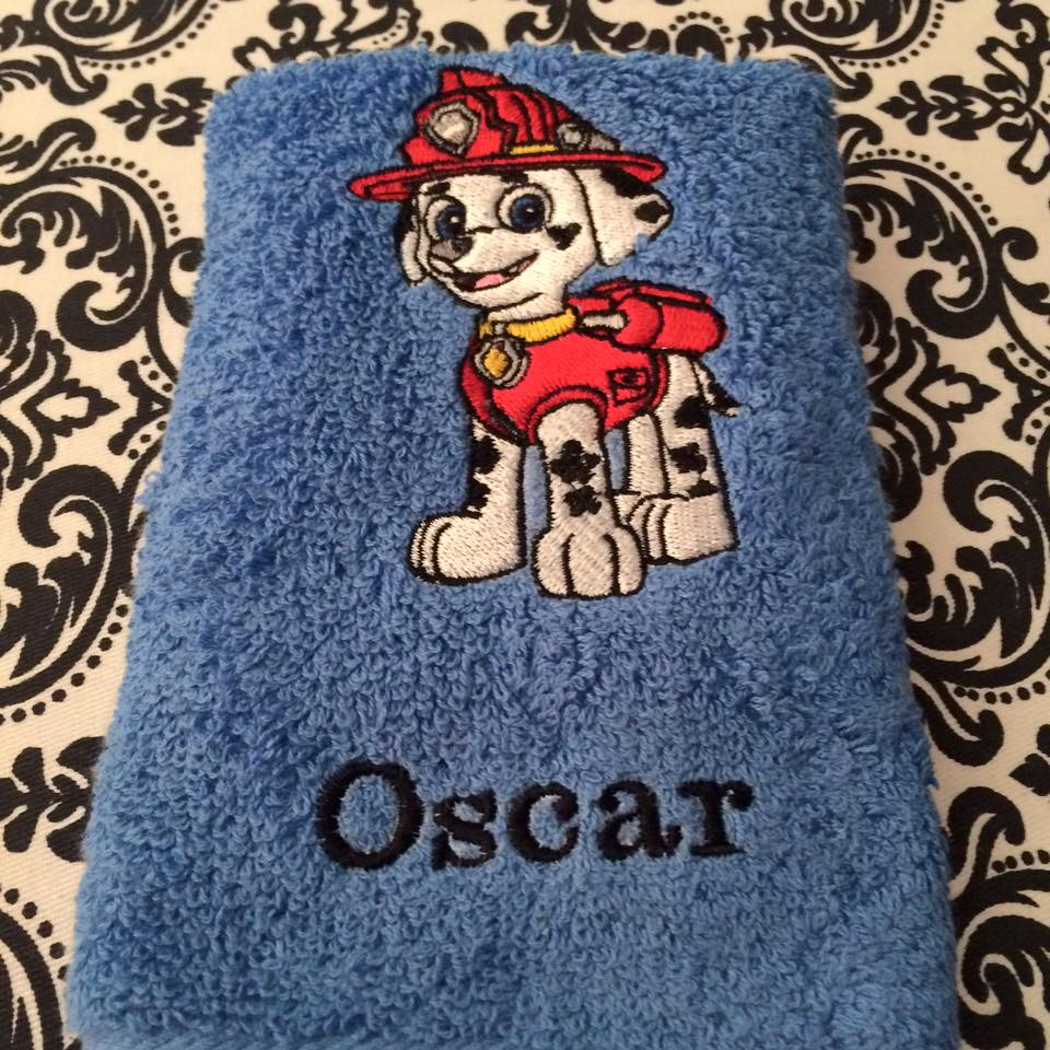 Bath towel with Marshall embroidery design