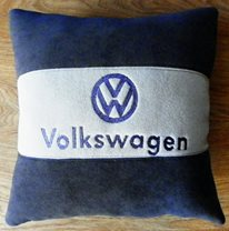 Volkswagen logo design on pillowcase embroidered