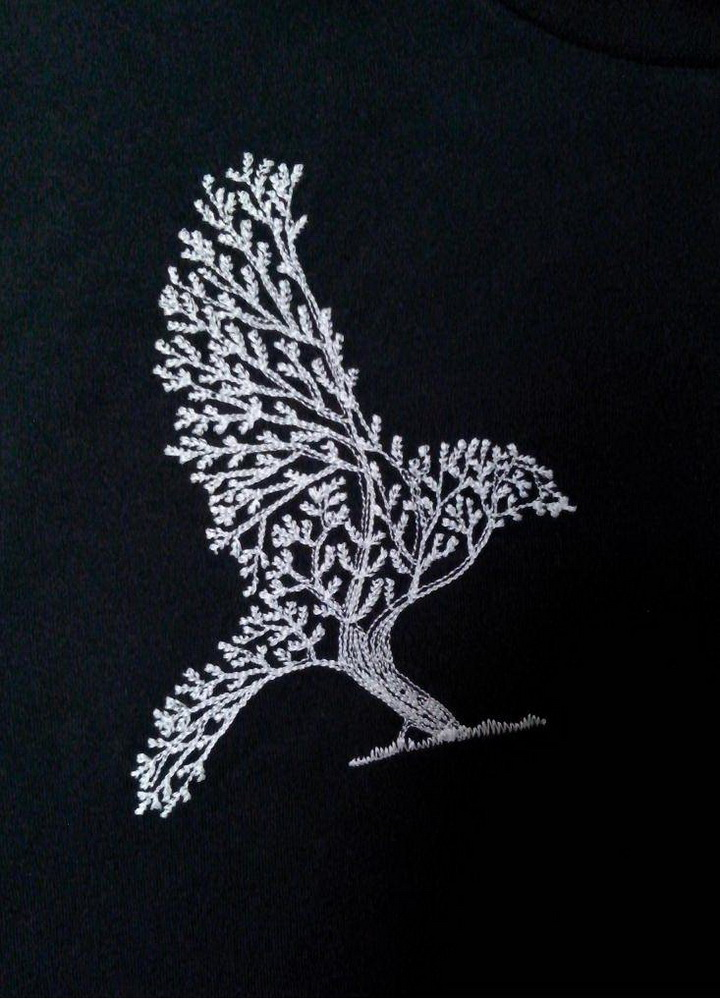 Tree bird design on t-shirt embroidered